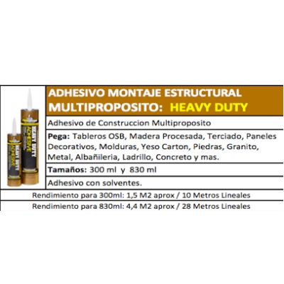Adhesivo Montaje Heavy Duty 300ml